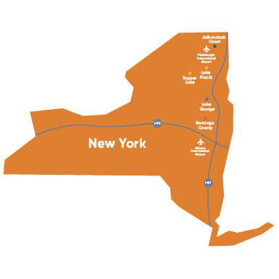 Map of New York showing the key tour destinations